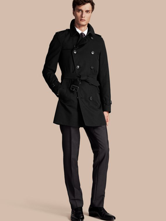 The Sandringham – Mid-length Heritage Trench Coat Black