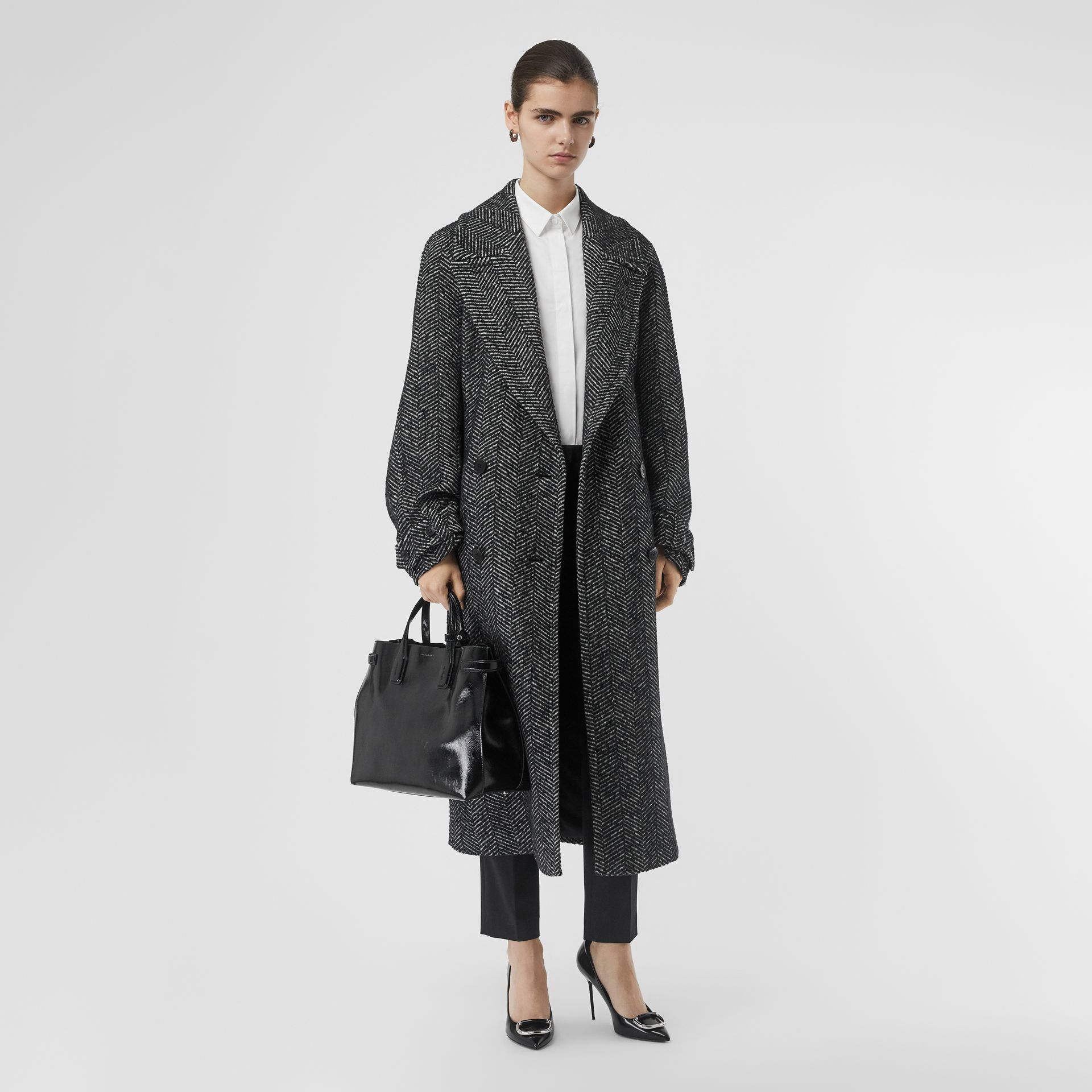 Herringbone Wool Silk Blend Double-breasted Coat in Black - Women | Burberry - gallery image 0