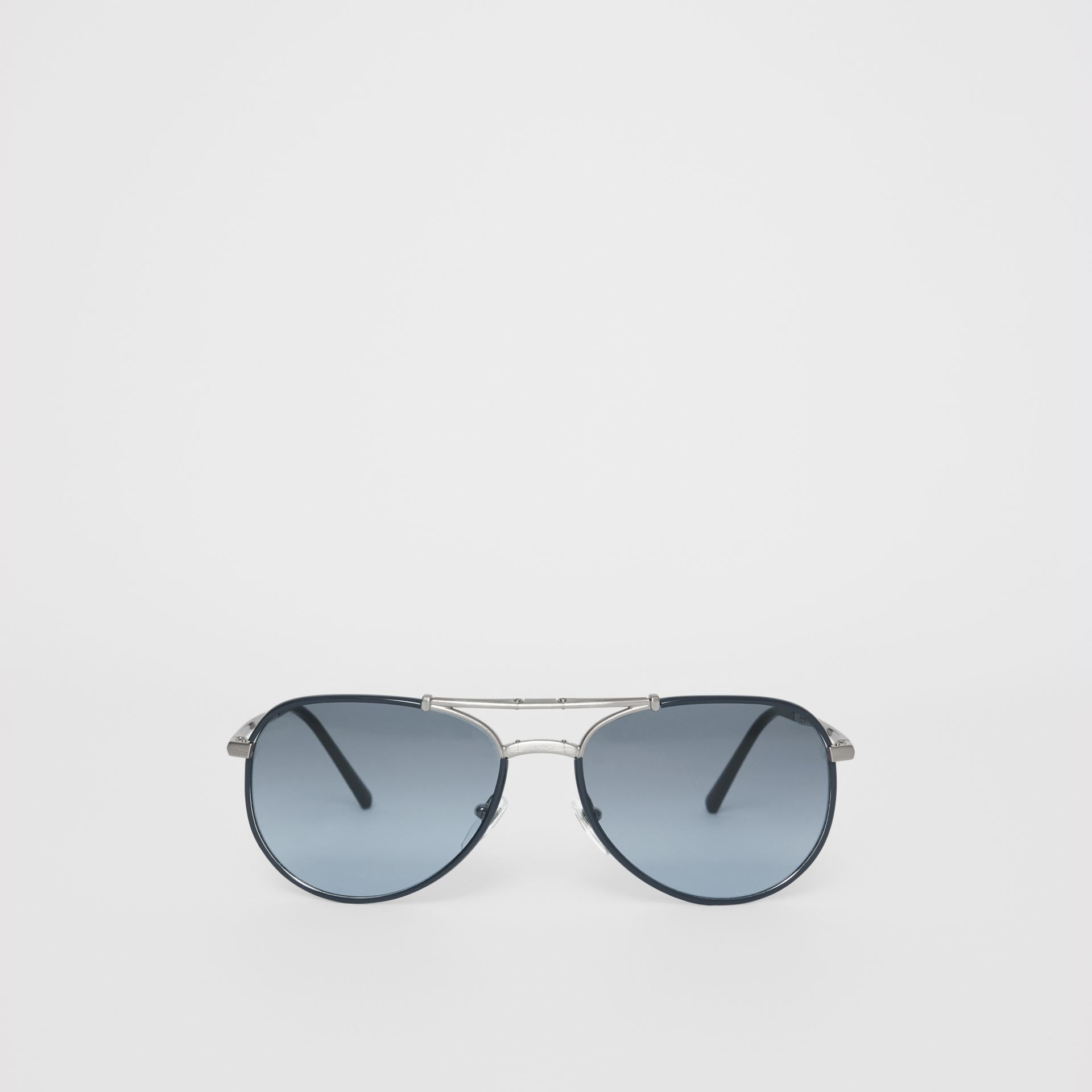 Folding Pilot Sunglasses in Navy - Men | Burberry United Kingdom - gallery image 0