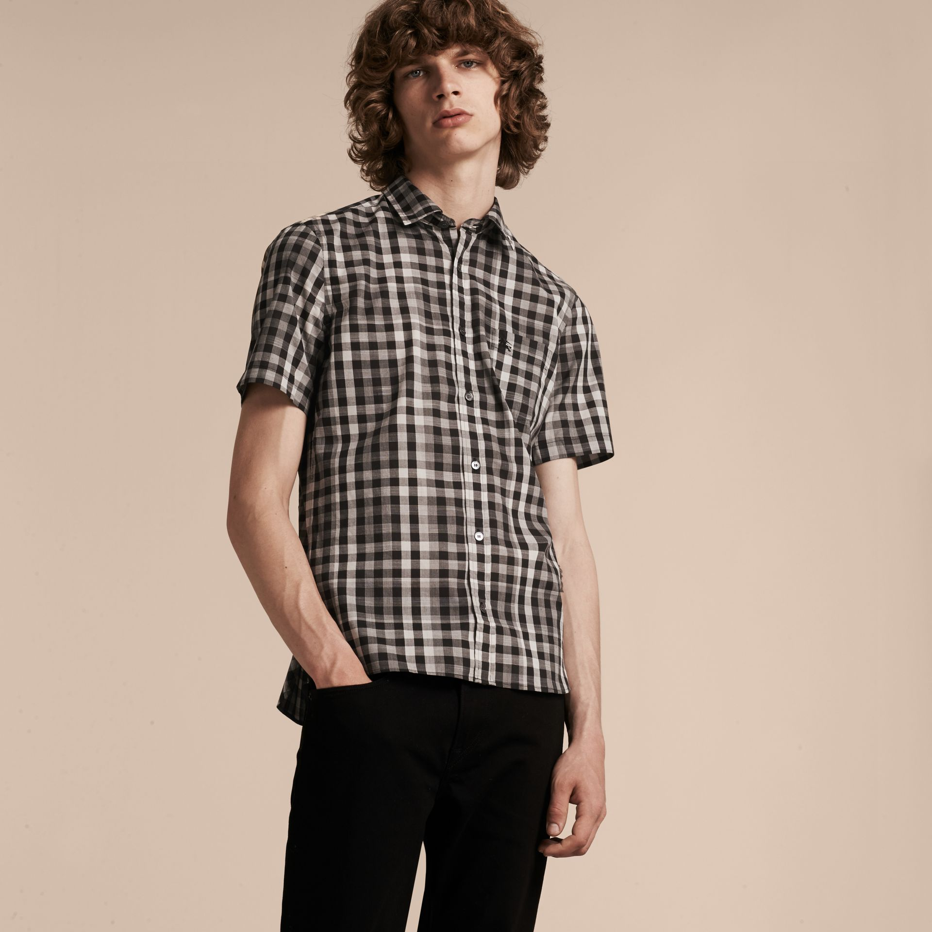 Black Short-sleeved Gingham Cotton Shirt Black - gallery image 4