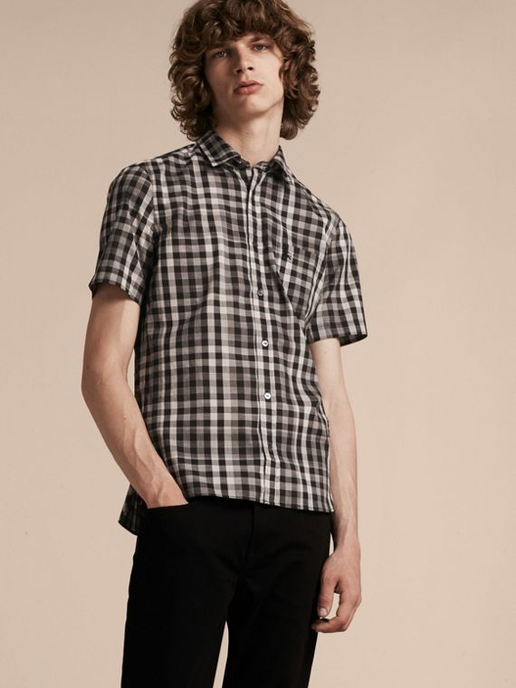 Black Short-sleeved Gingham Cotton Shirt Black - cell image 3