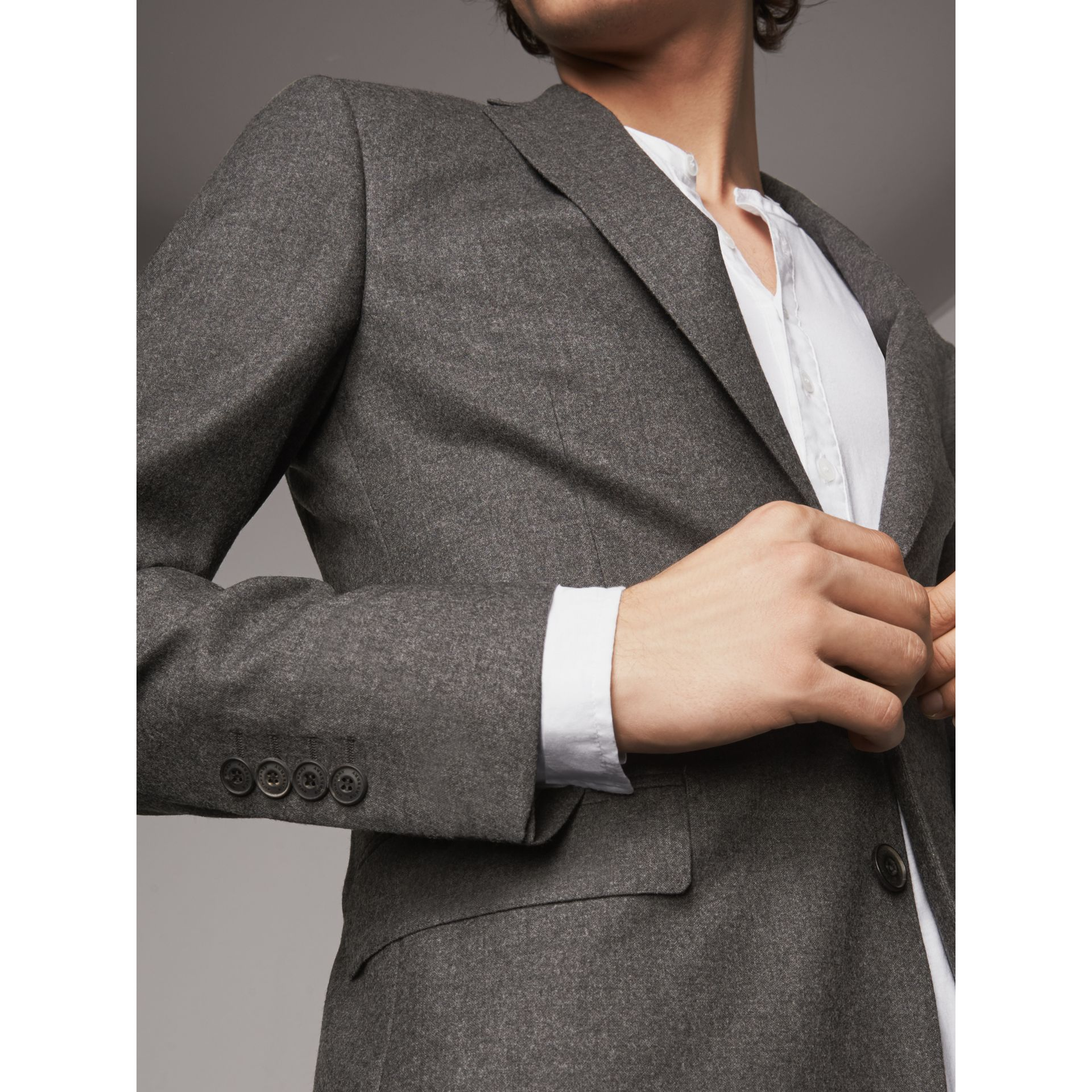 Soho Fit Wool Flannel Suit in Dark Charcoal Melange - Men | Burberry - gallery image 2