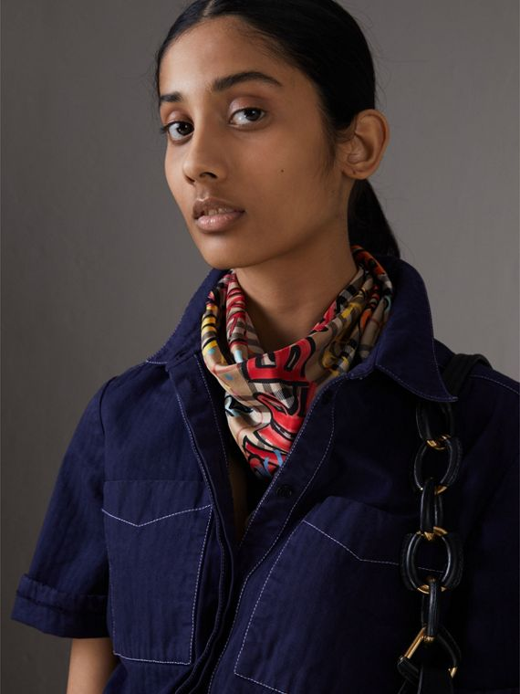 Graffiti Print Vintage Check Silk Scarf in Antique Yellow - Women | Burberry Singapore - cell image 3