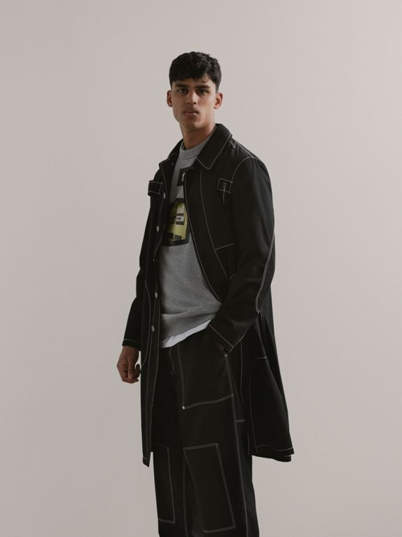 Topstitch Detail Cotton Gabardine Car Coat in Black - Men | Burberry - cell image 1