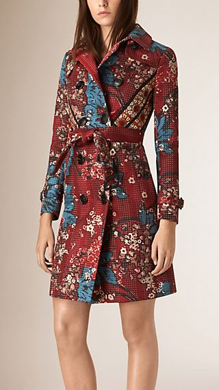 Floral Print Cotton Trench Coat with Topstitching