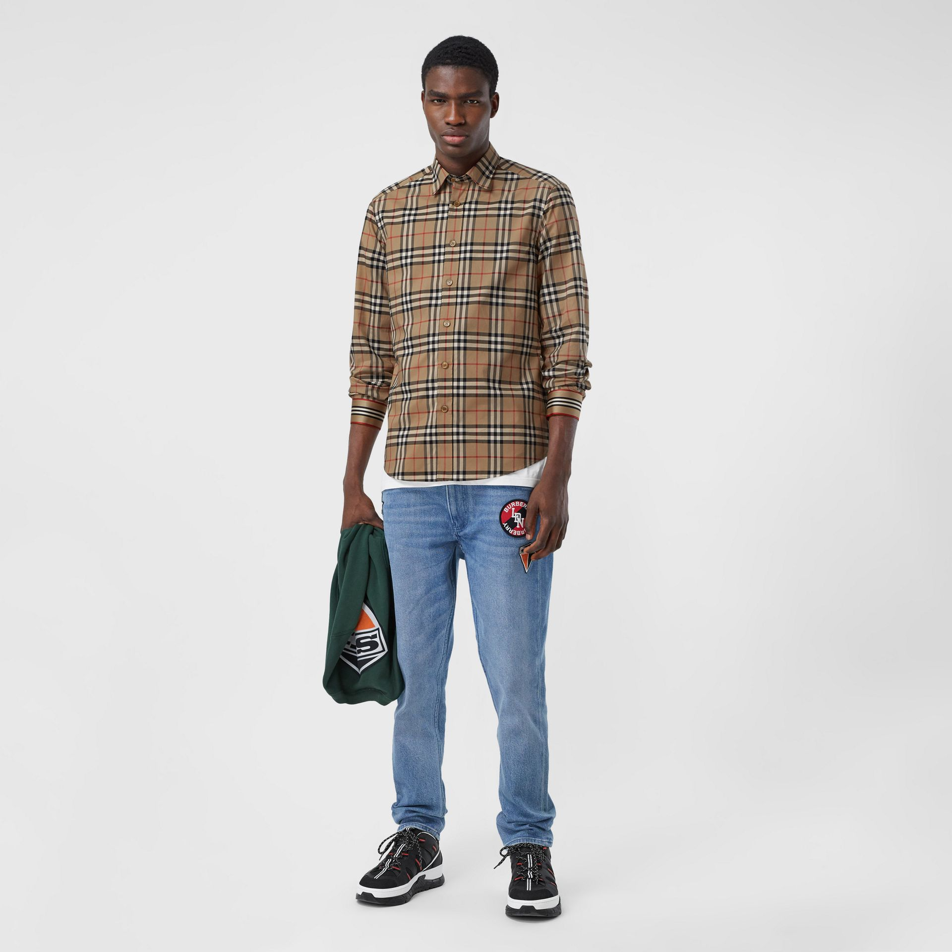 Icon Stripe Cuff Vintage Check Cotton Shirt in Archive Beige - Men | Burberry - gallery image 0