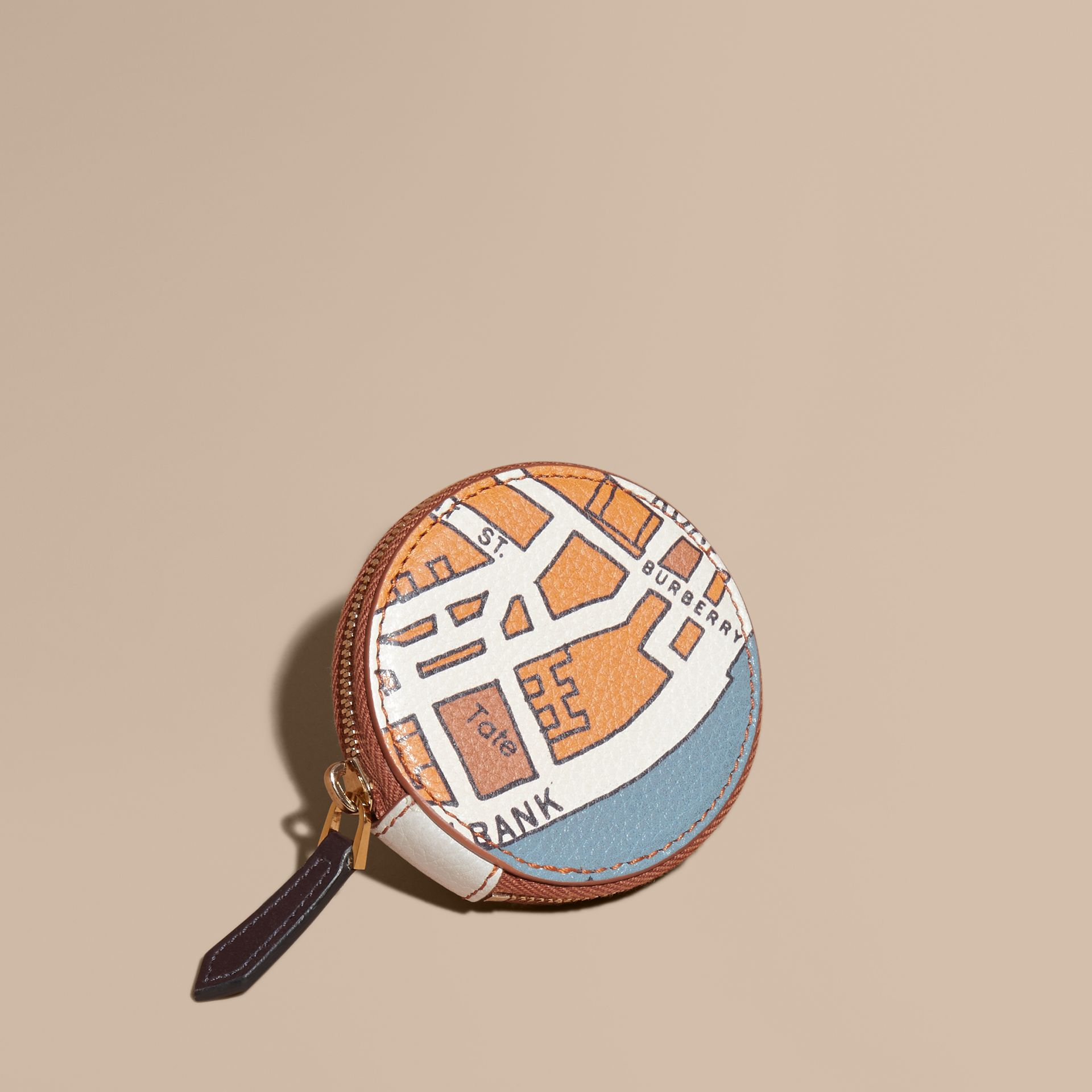 Orange umber London Street Map Grainy Leather Coin Case - gallery image 1
