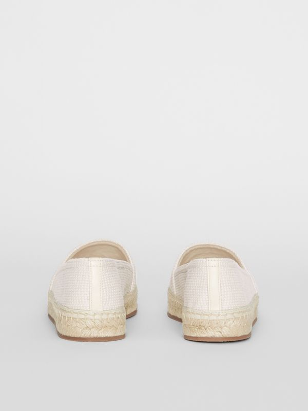 Monogram Motif Cotton and Leather Espadrilles in Ecru/black - Women | Burberry United Kingdom - cell image 3