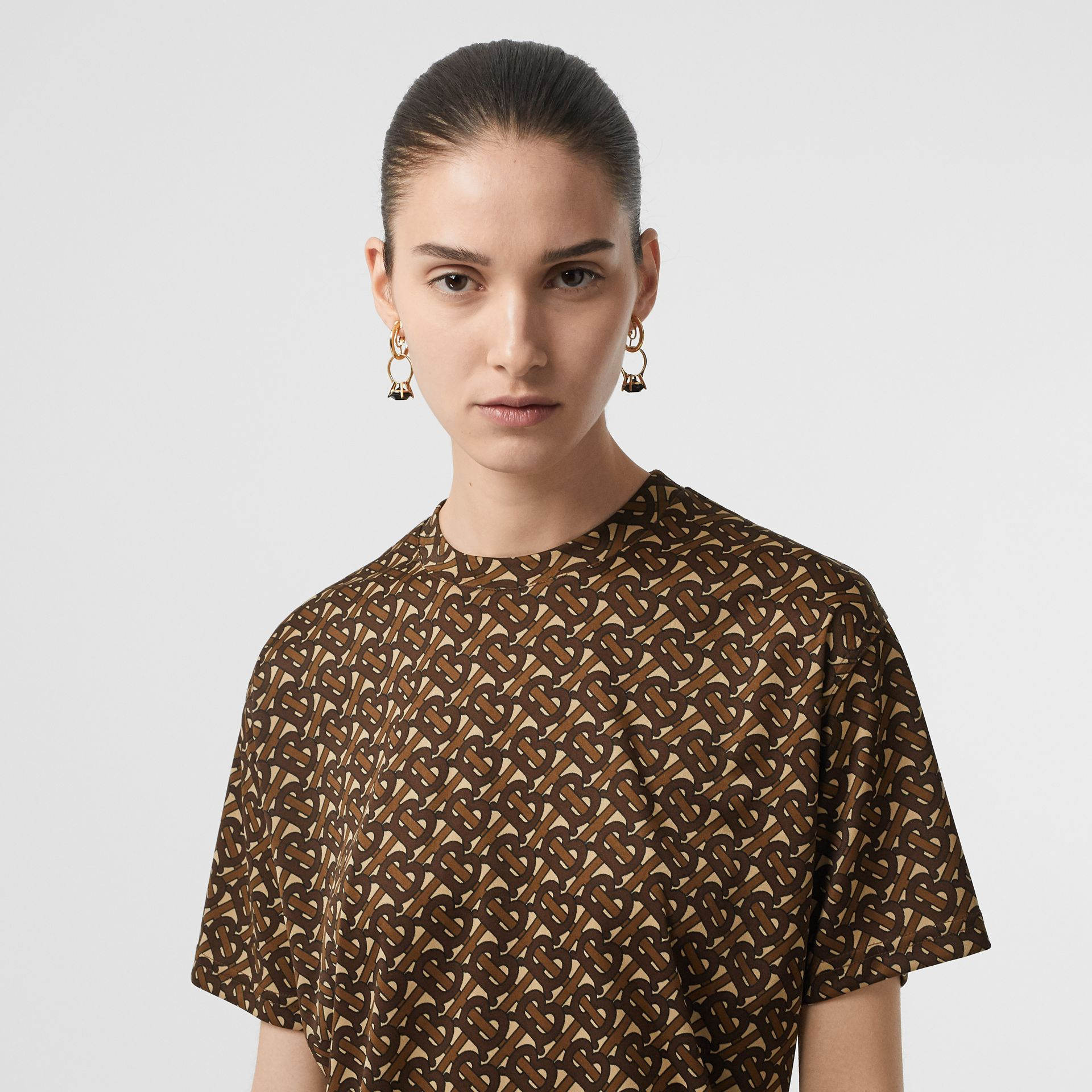 Monogram Print Jersey Oversized T-shirt in Bridle Brown - Women | Burberry Canada - gallery image 1