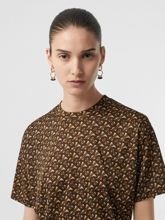 Monogram Print Jersey Oversized T-shirt in Bridle Brown - Women | Burberry - cell image 1
