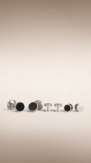 Enamel Chainlink Cufflinks and Shirt Stud Set