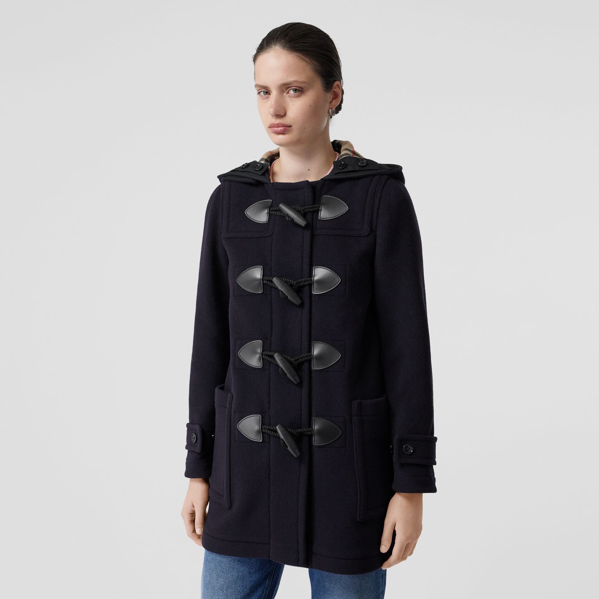 Wool Blend Duffle Coat in Navy - Women | Burberry - gallery image 6