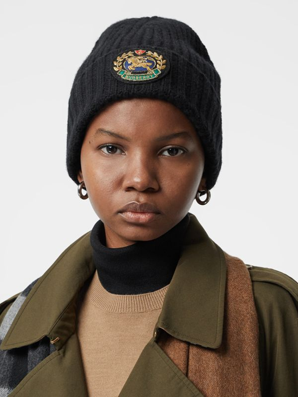 Embroidered Crest Rib Knit Wool Cashmere Beanie in Black | Burberry - cell image 2