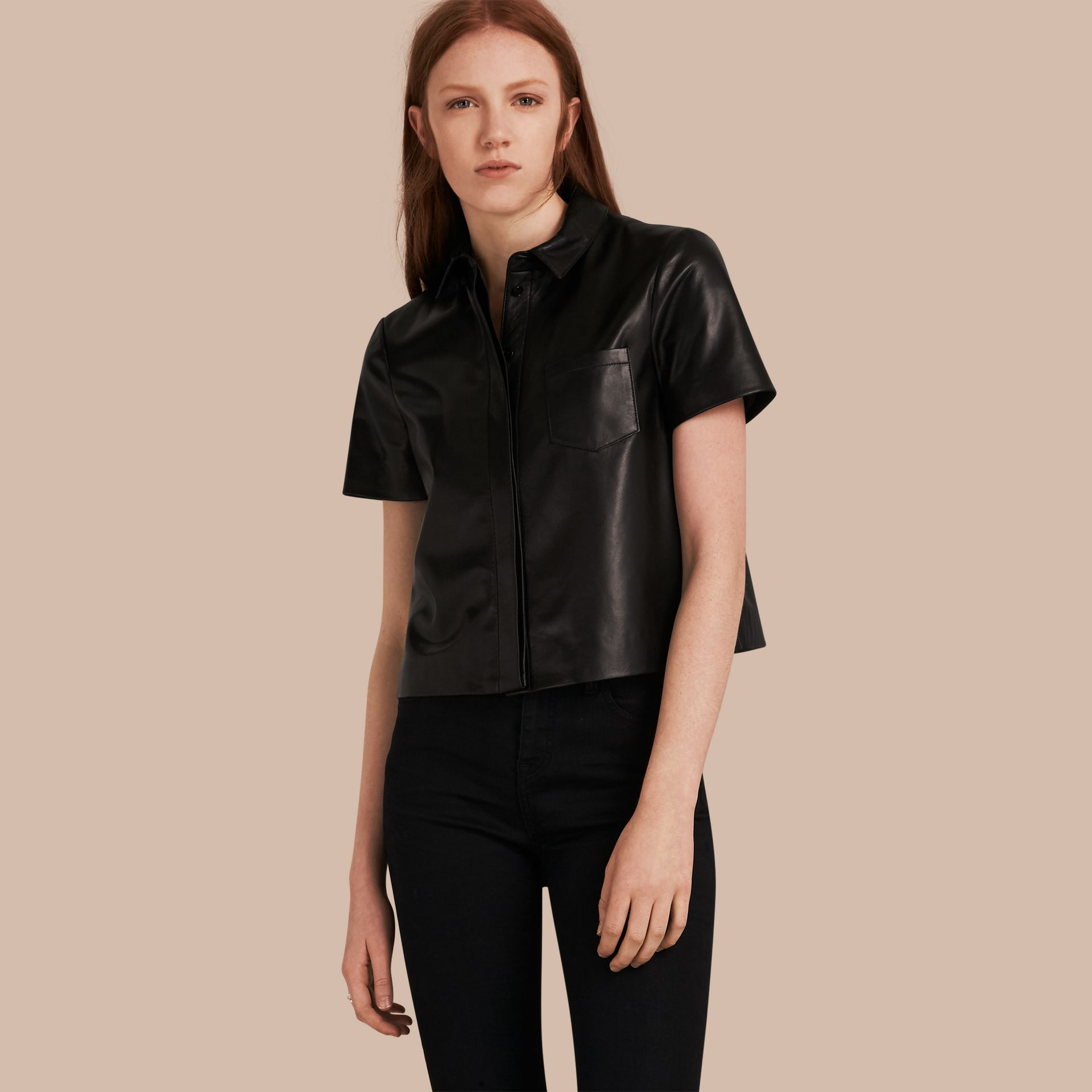 Black Short-sleeved Lambskin Shirt - gallery image 1