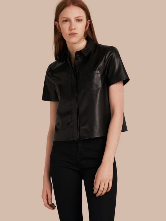 Short-sleeved Lambskin Shirt