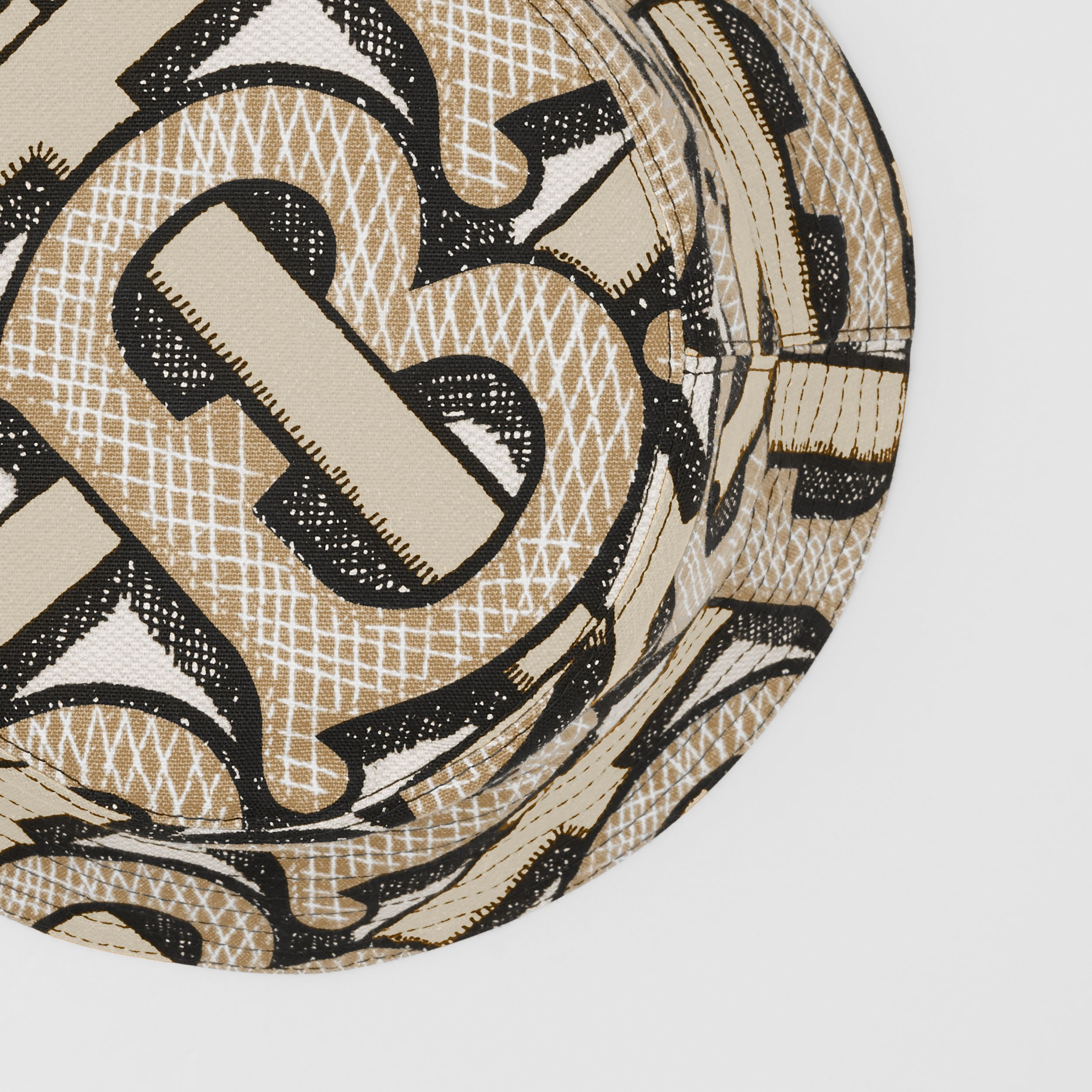 Monogram Print Cotton Canvas Bucket Hat in Dark Beige | Burberry - 2