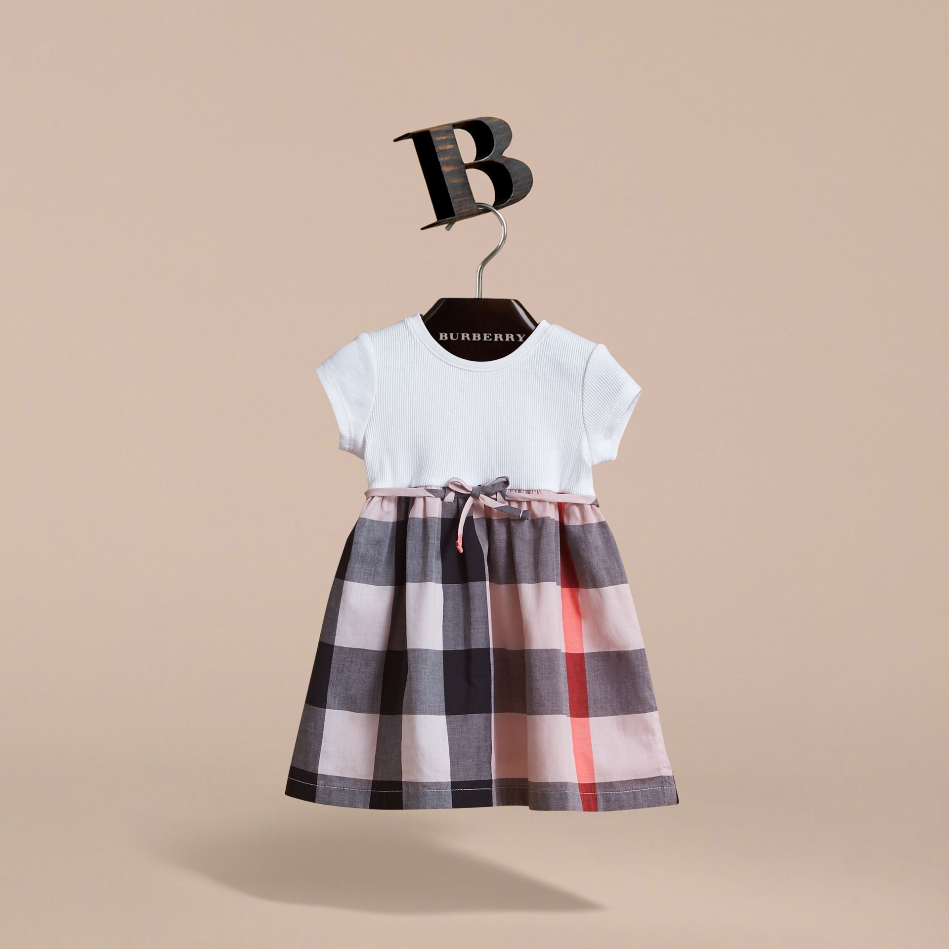 Check Cotton Jersey T-shirt Dress in Vintage Pink | Burberry - gallery image 3