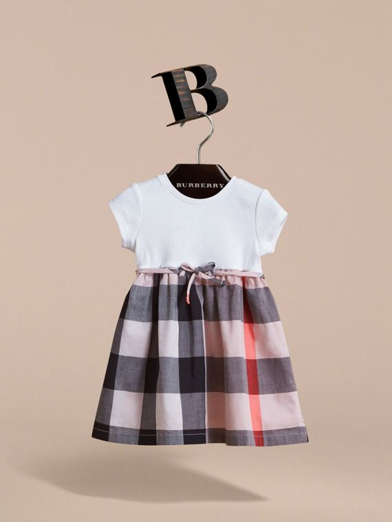Check Cotton Jersey T-shirt Dress in Vintage Pink | Burberry - cell image 2