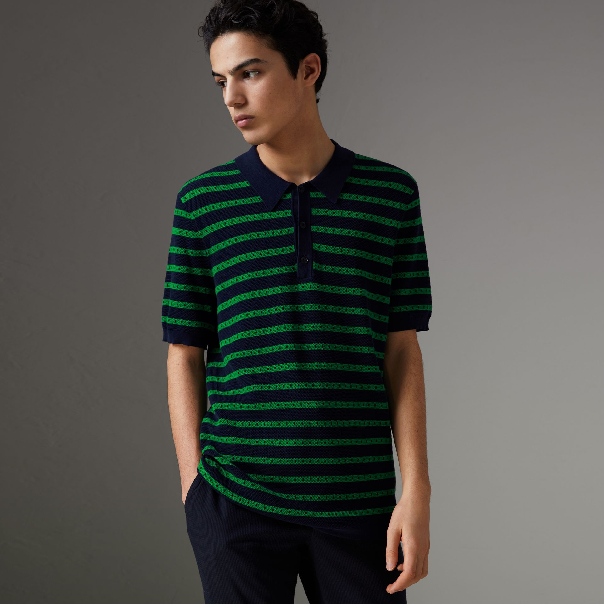 Striped Knitted Cotton Polo Shirt in Deep Navy - Men | Burberry Canada - gallery image 0