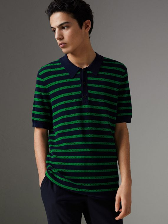 Striped Knitted Cotton Polo Shirt in Deep Navy
