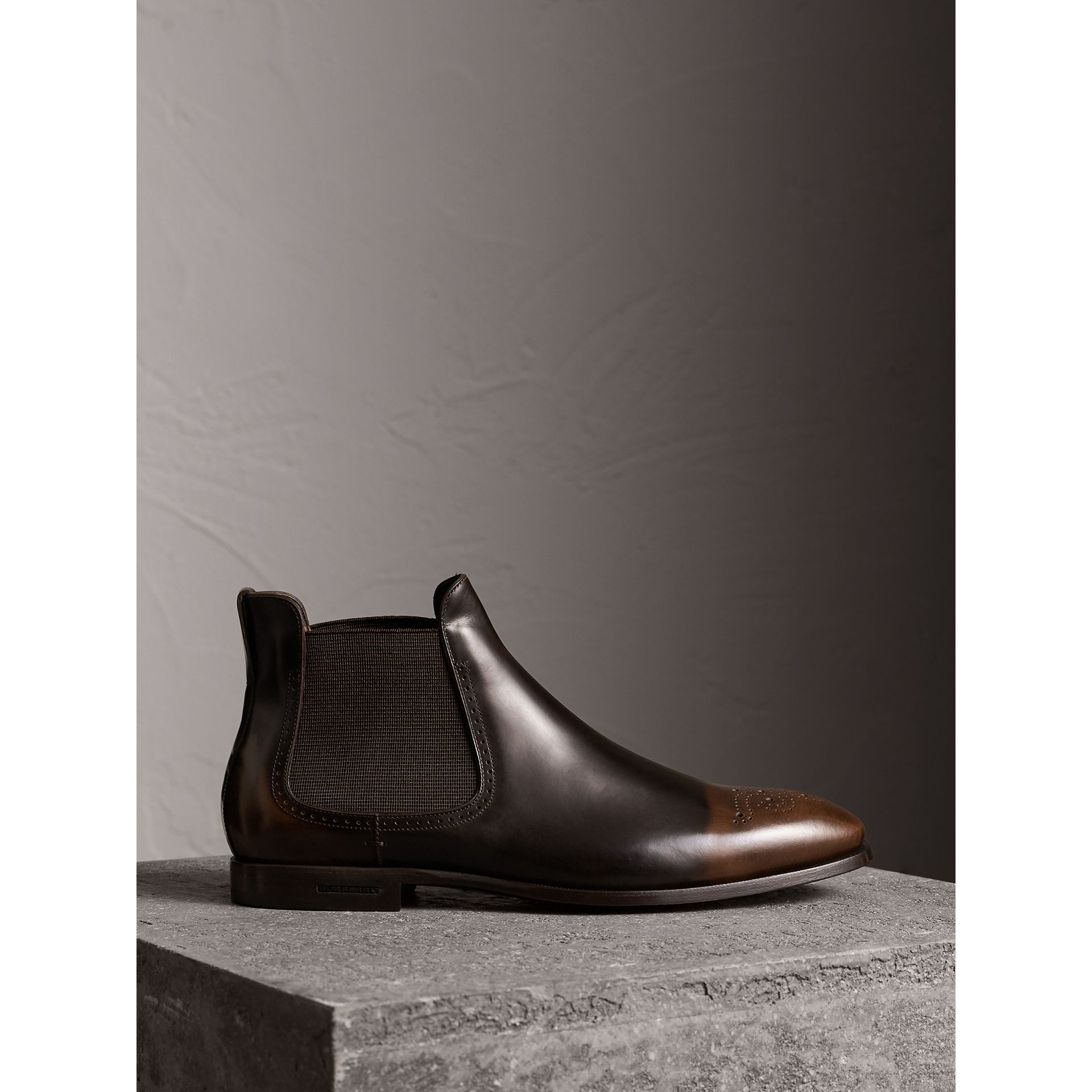 Perforated Detail Leather Chelsea Boots in Chocolate Brown - Men | Burberry - gallery image 0