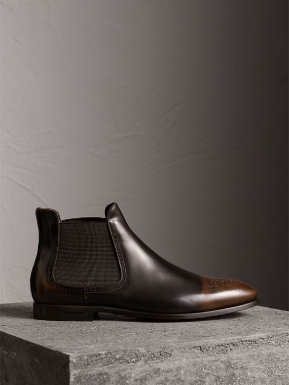 Perforated Detail Leather Chelsea Boots in Chocolate Brown
