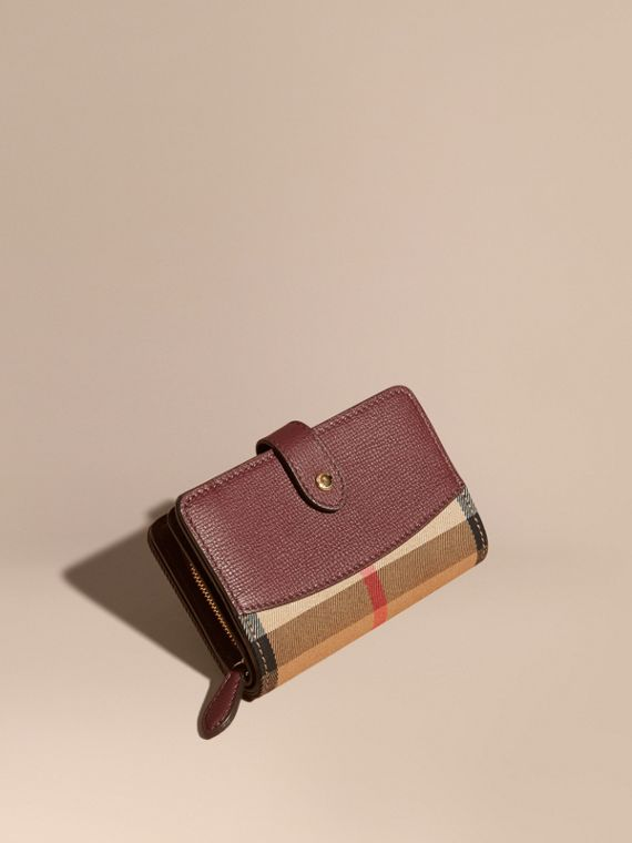 House Check and Leather Wallet Mahogany Red