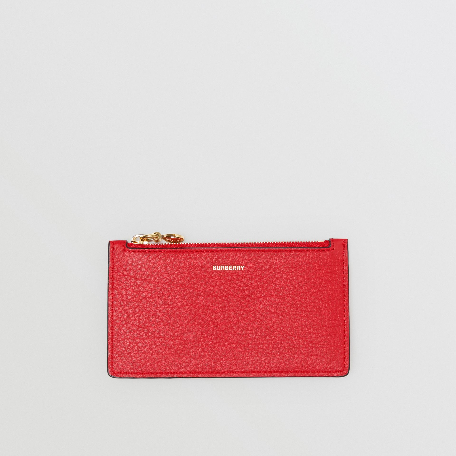 Leather Zip Card Case in Bright Military Red | Burberry - gallery image 0