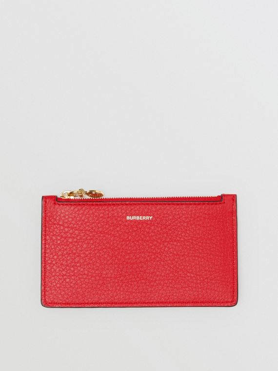 Leather Zip Card Case in Bright Military Red