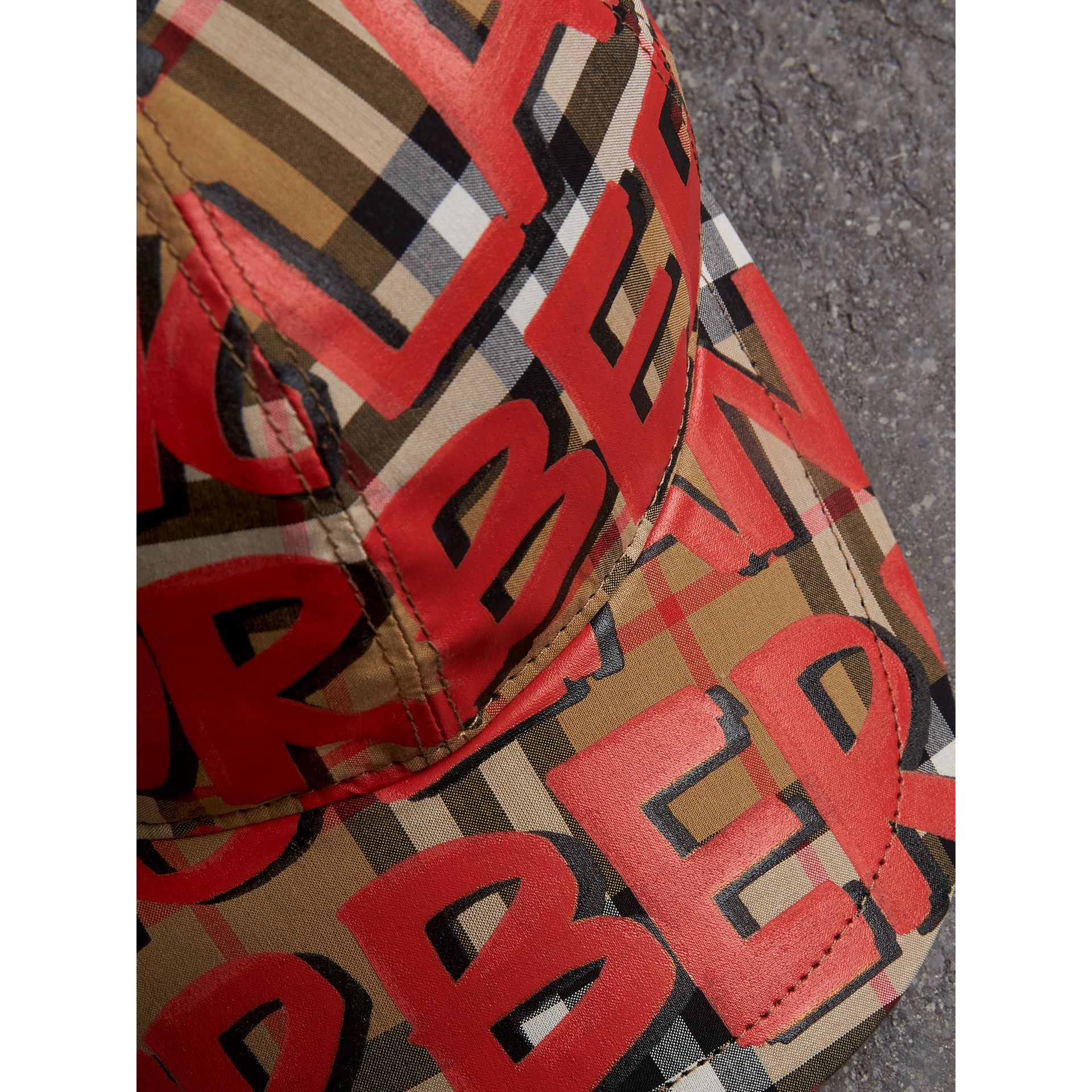 Graffiti Print Vintage Check Baseball Cap in Red | Burberry - gallery image 1