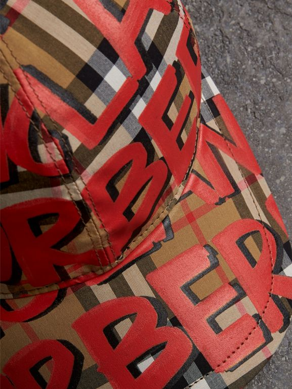 Graffiti Print Vintage Check Baseball Cap in Red | Burberry Australia - cell image 1