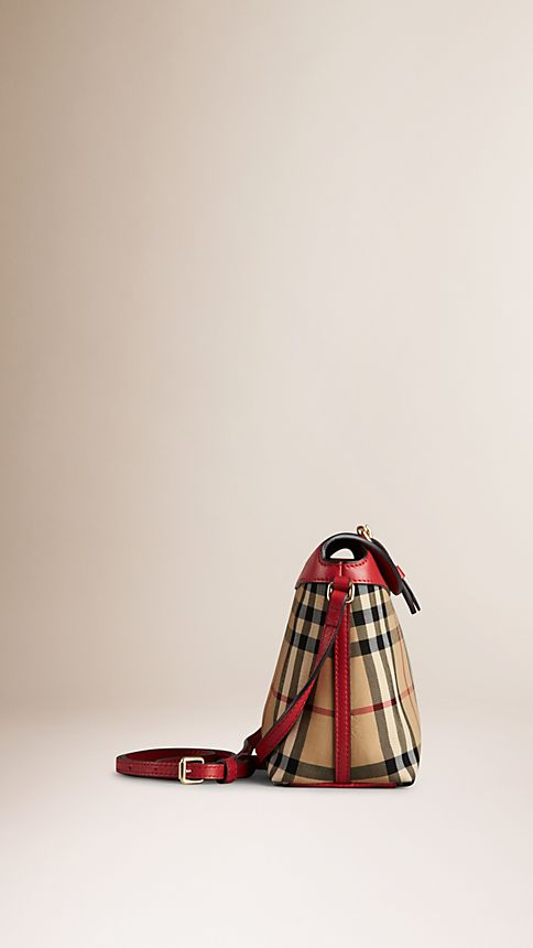 Honey/parade red Small Horseferry Check Clutch Bag - Image 4