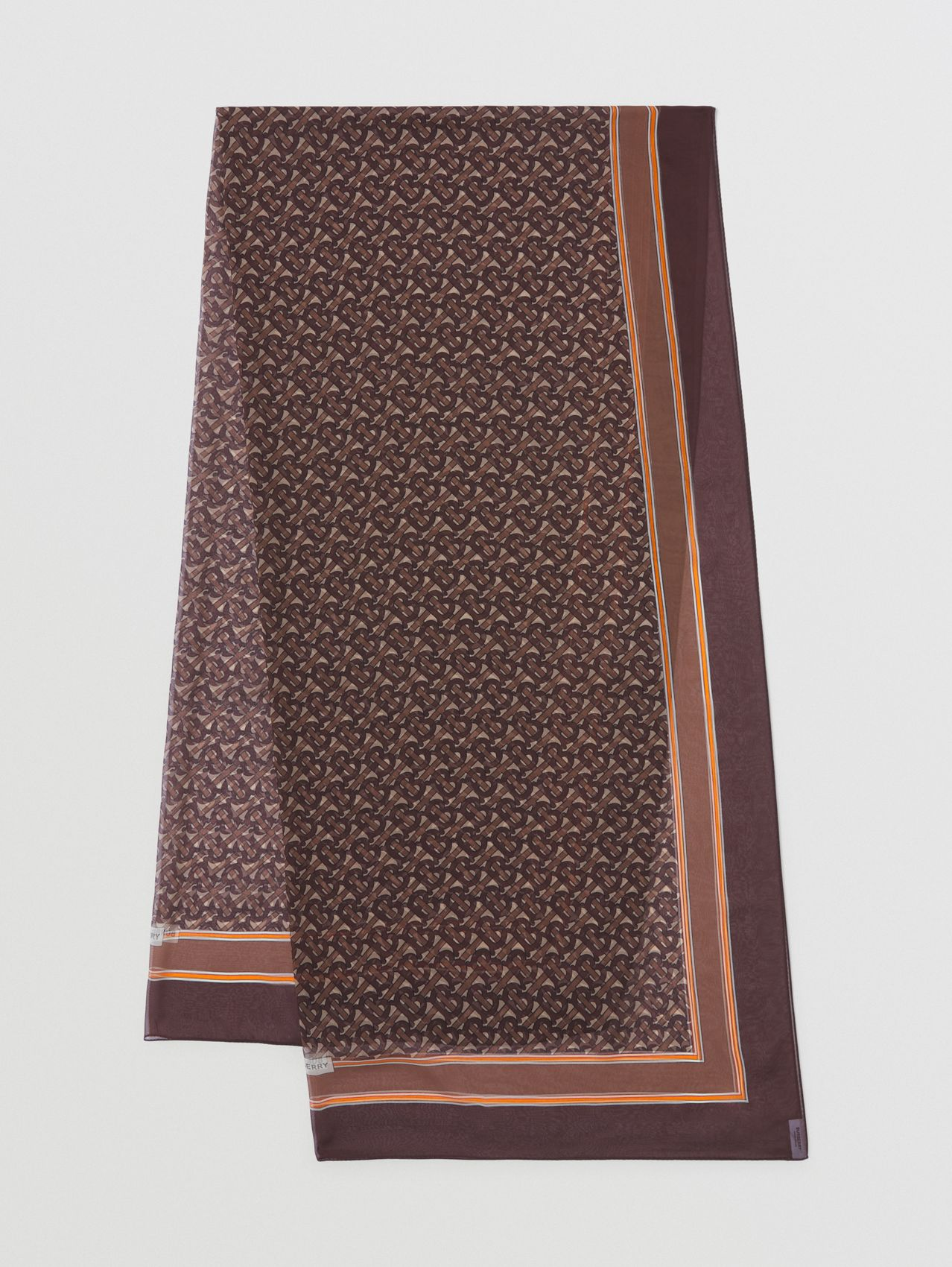 Monogram Print Silk Chiffon Scarf in Bridle Brown