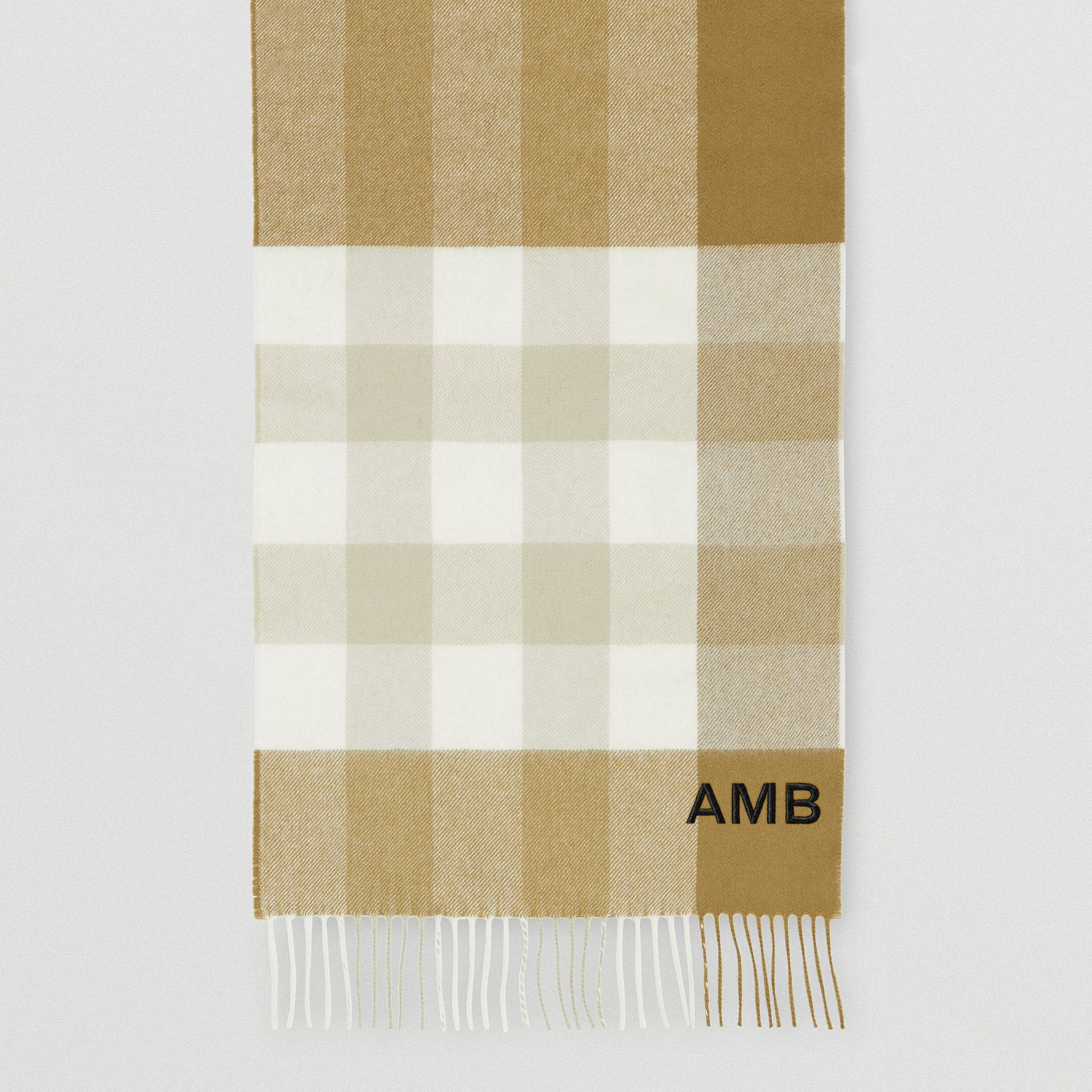 Check Cashmere Scarf in Deep Olive | Burberry United States - gallery image 8