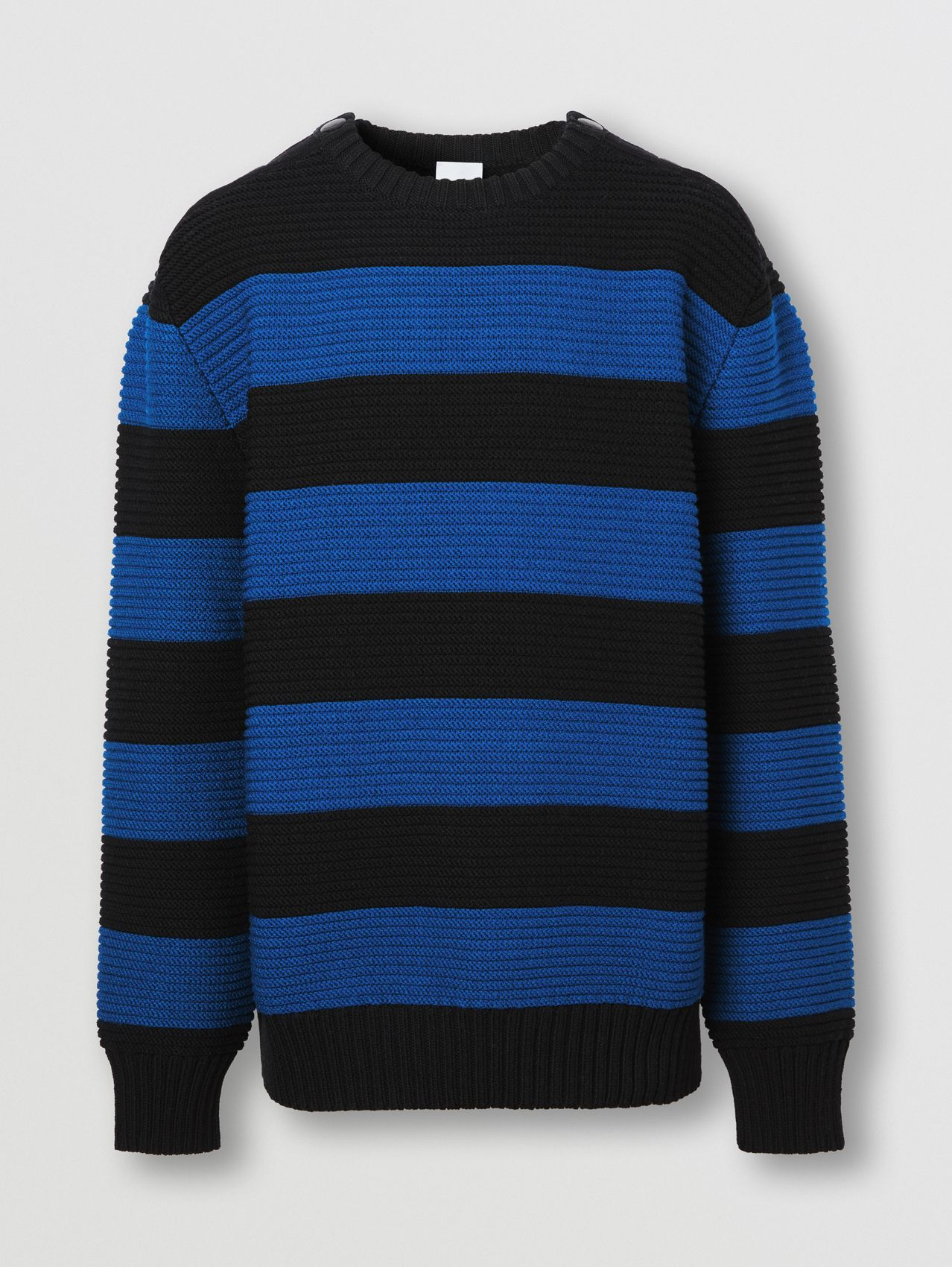 Rib Knit Striped Technical Cotton Blend Sweater in Midnight Navy
