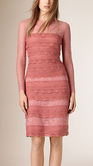 Tiered French Lace Shift Dress