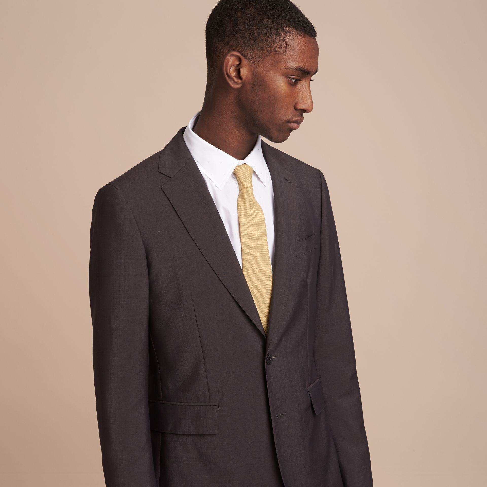 Modern Cut Linen Tie in Stone Yellow - Men | Burberry - gallery image 3