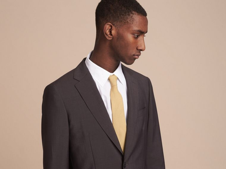 Modern Cut Linen Tie in Stone Yellow - Men | Burberry - cell image 2