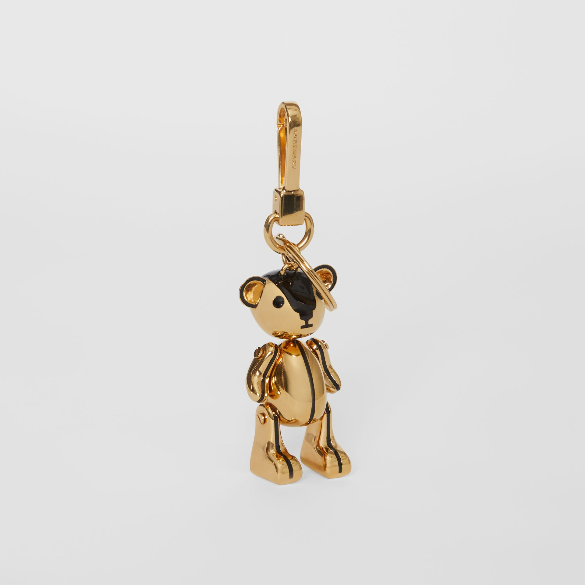 Gold-plated Thomas Bear Charm in Black/light | Burberry Canada - gallery image 0