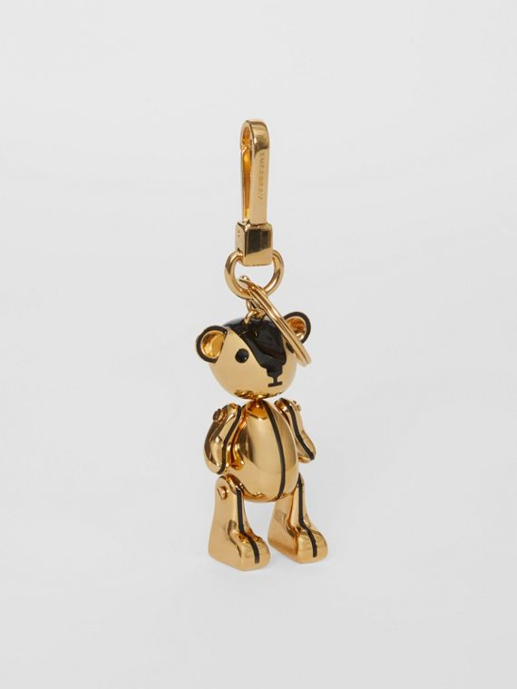 Gold-plated Thomas Bear Charm in Black/light