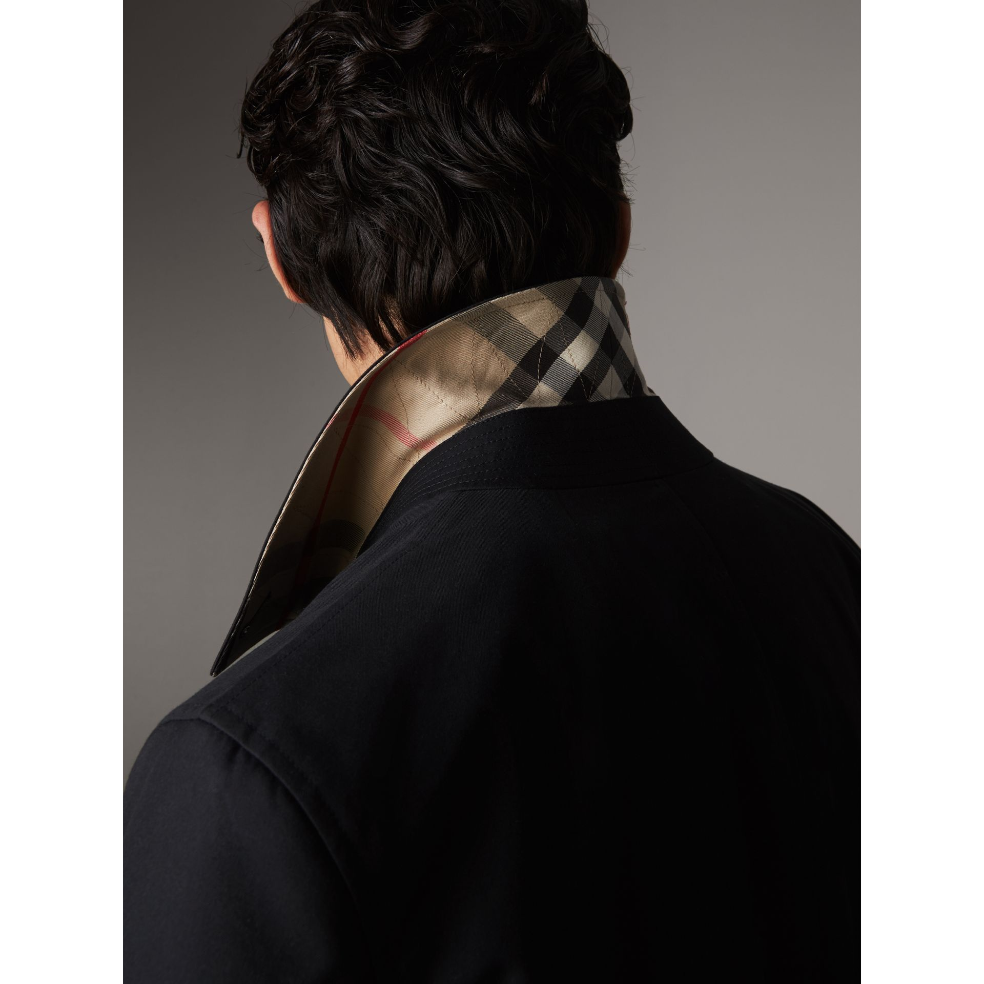 Resin Button Cotton Gabardine Car Coat in Navy - Men | Burberry - gallery image 2