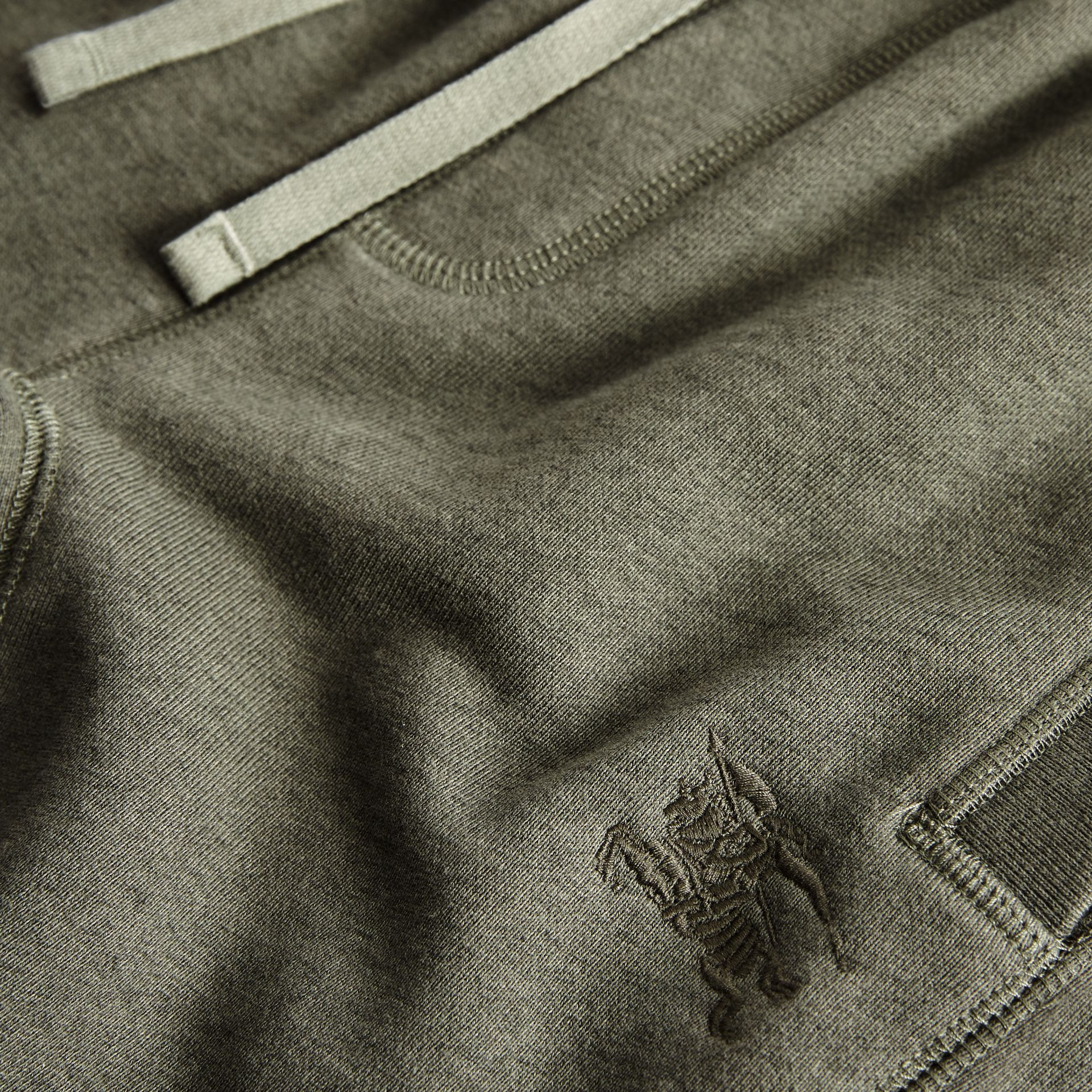 Cotton Jersey Trackpants in Olive Melange | Burberry Canada - gallery image 1