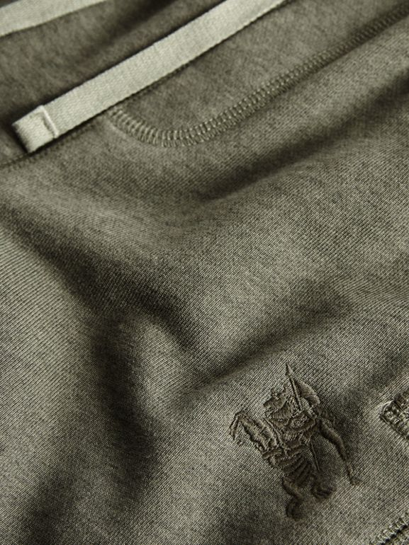 Cotton Jersey Trackpants in Olive Melange | Burberry - cell image 1