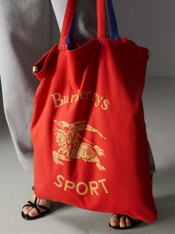 Grand sac shopper en jersey avec logo d'archive (Rouge Coquelicot)