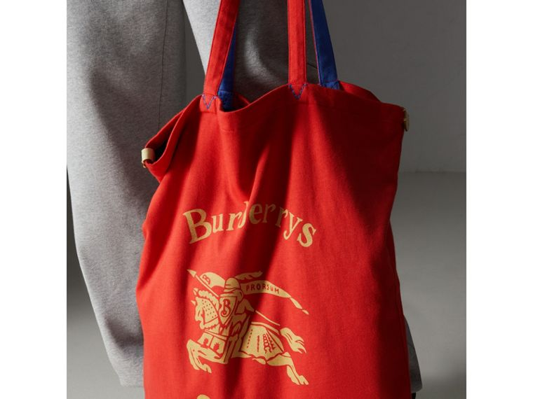 Large Archive Logo Jersey Shopper in Poppy Red | Burberry - cell image 4