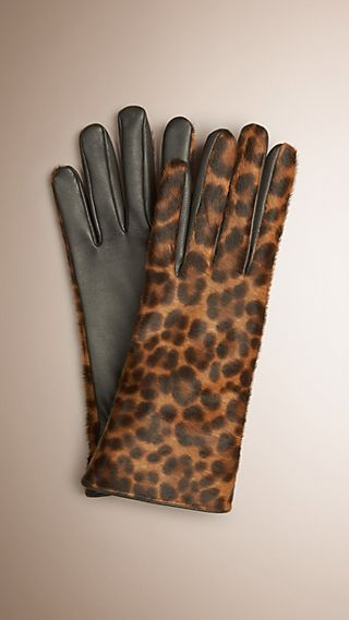 Leopard Print Calfskin and Leather Gloves