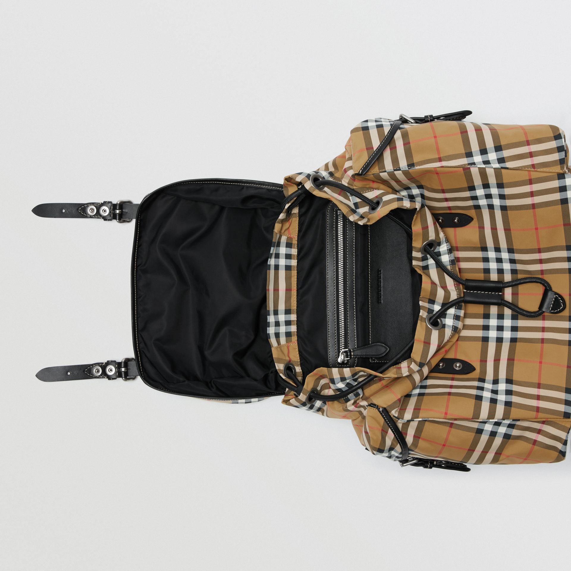 Vintage Check and Leather Backpack in Antique Yellow - Men | Burberry Hong Kong S.A.R - gallery image 4