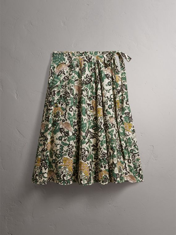 Beasts Print Cotton Wrap Skirt in Chalk Green - Women | Burberry - cell image 3
