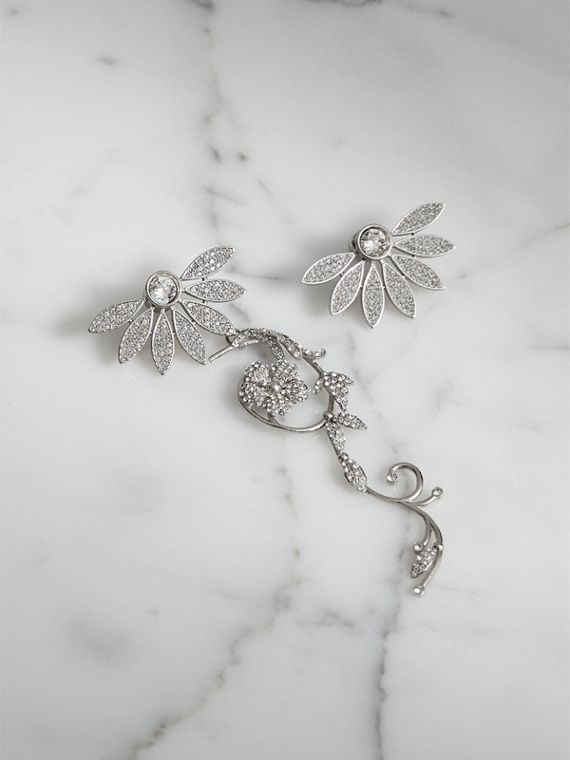 Crystal Half-daisy Drop Earring and Stud Set