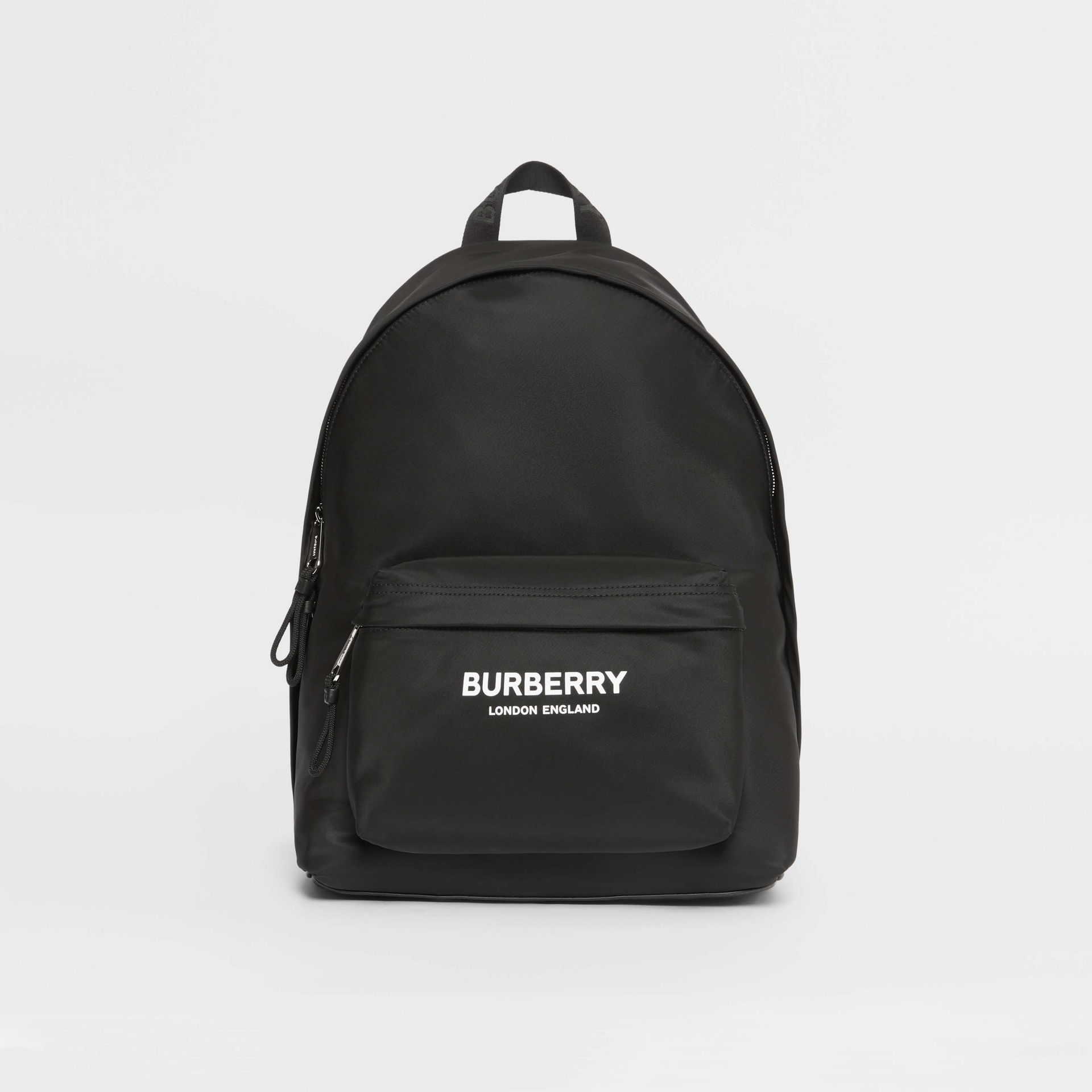 Logo Print Nylon Backpack in Black | Burberry - gallery image 0